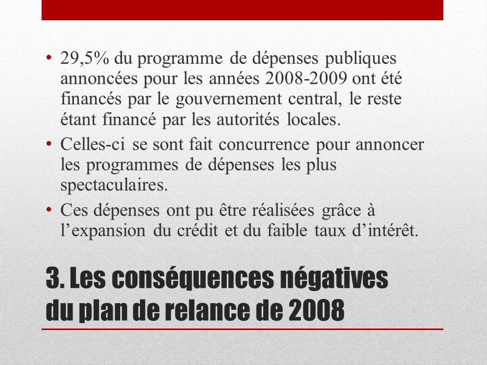 3. Les conséquences négatives du plan de relance de 2008 29,5% du programme de dépenses publiques annoncées pour les années 2008-2009 ont été financés