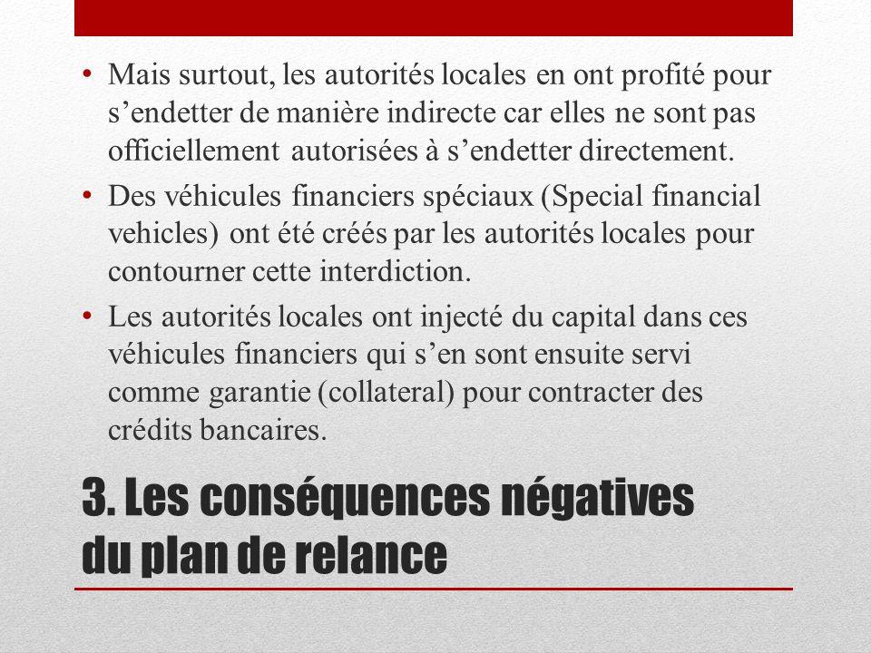 3. Les conséquences négatives du plan de relance Mais surtout, les autorités locales en ont profité pour sendetter de manière indirecte car elles ne s