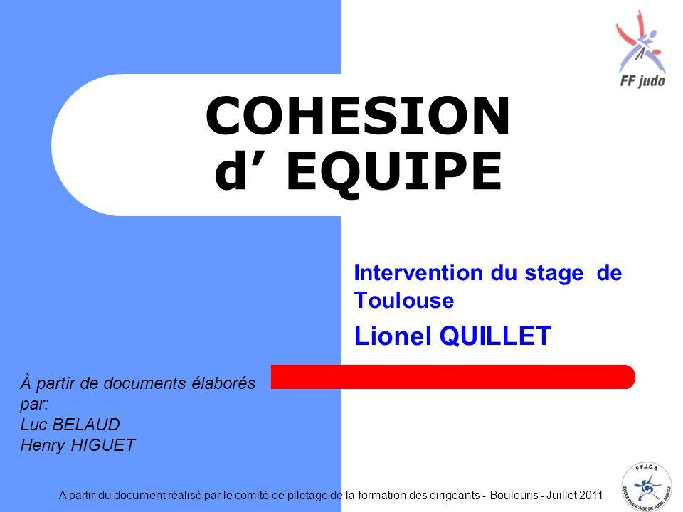 COHESION d EQUIPE Intervention du stage de Toulouse Lionel QUILLET A partir du document réalisé par le comité de pilotage de la formation des dirigean