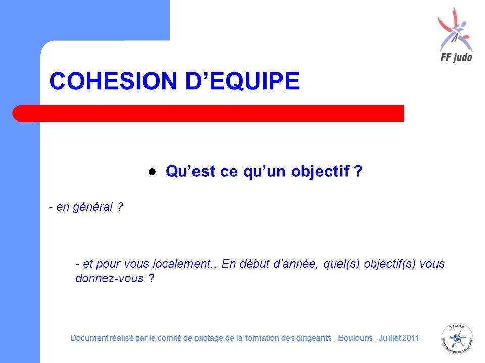 COHESION DEQUIPE Quest ce quun objectif ? Document réalisé par le comité de pilotage de la formation des dirigeants - Boulouris - Juillet 2011 - en gé