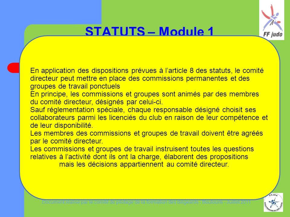 LE REGLEMENT INTERIEUR TYPE pour une association affiliée à la FFJDA STATUTS – Module 1 LE REGLEMENT INTERIEUR TYPE pour une association affiliée à la