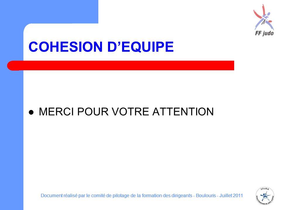 COHESION DEQUIPE MERCI POUR VOTRE ATTENTION Document réalisé par le comité de pilotage de la formation des dirigeants - Boulouris - Juillet 2011