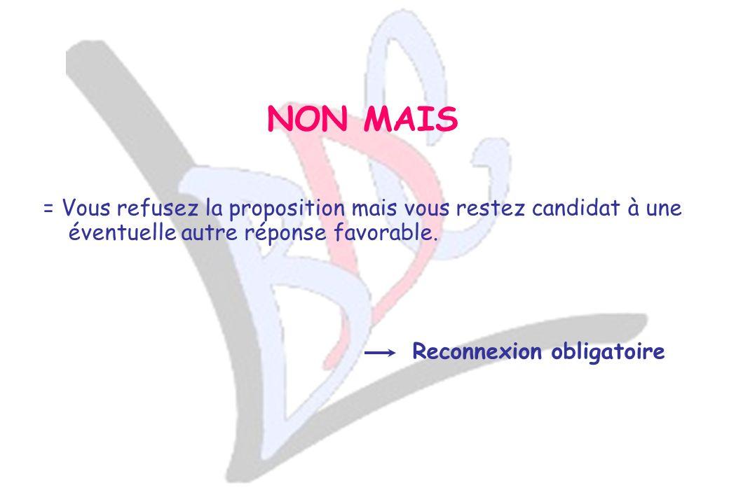 = Vous refusez la proposition mais vous restez candidat à une éventuelle autre réponse favorable.