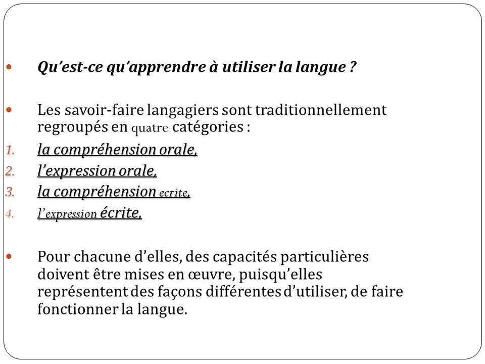 Quest-ce quapprendre à utiliser la langue ? Les savoir-faire langagiers sont traditionnellement regroupés en quatre catégories : 1. la compréhension o