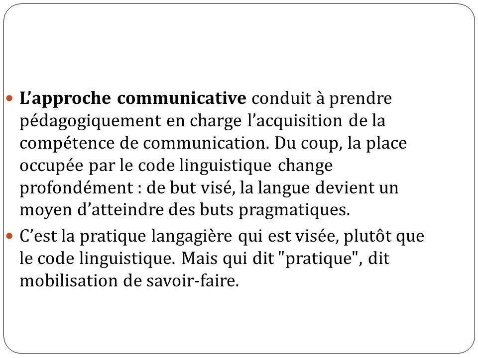 Lapproche communicative conduit à prendre pédagogiquement en charge lacquisition de la compétence de communication. Du coup, la place occupée par le c