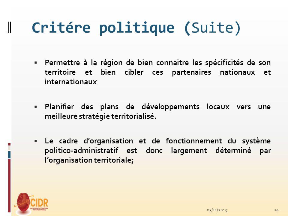 Critére politique (Suite) Permettre à la région de bien connaitre les spécificités de son territoire et bien cibler ces partenaires nationaux et inter