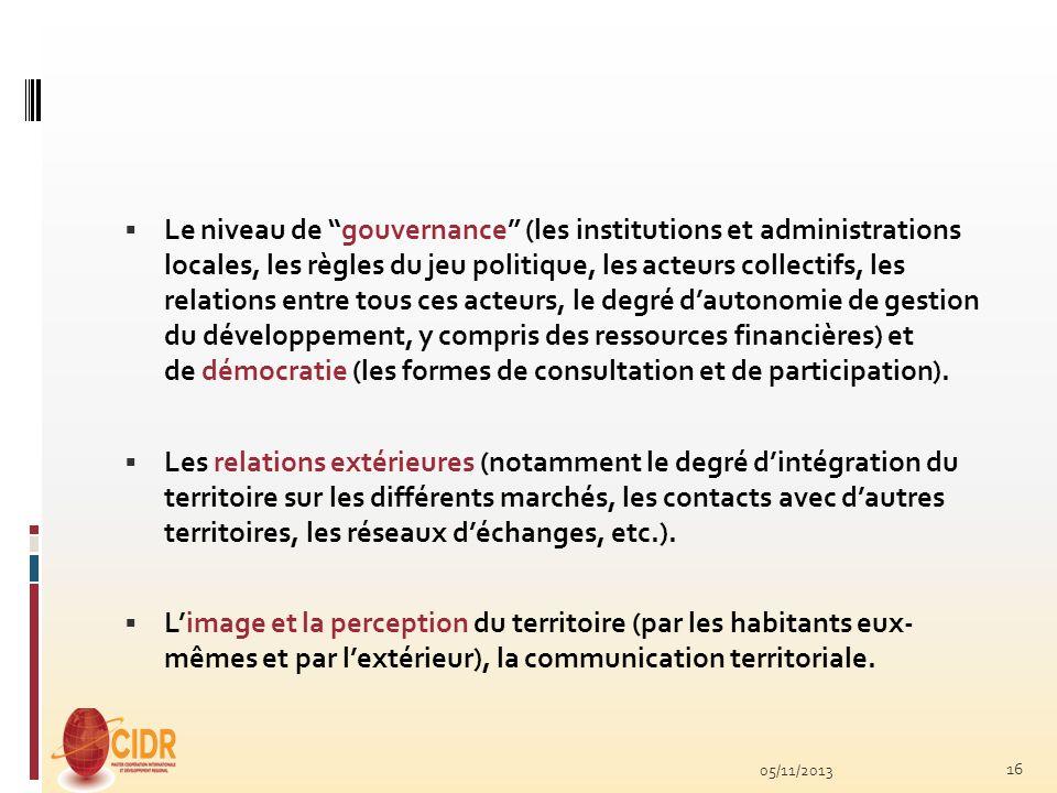 Le niveau de gouvernance (les institutions et administrations locales, les règles du jeu politique, les acteurs collectifs, les relations entre tous c