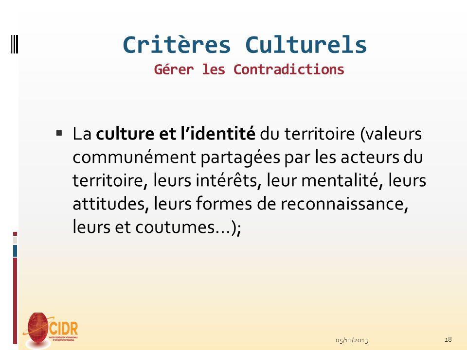 Critères Culturels Gérer les Contradictions La culture et lidentité du territoire (valeurs communément partagées par les acteurs du territoire, leurs