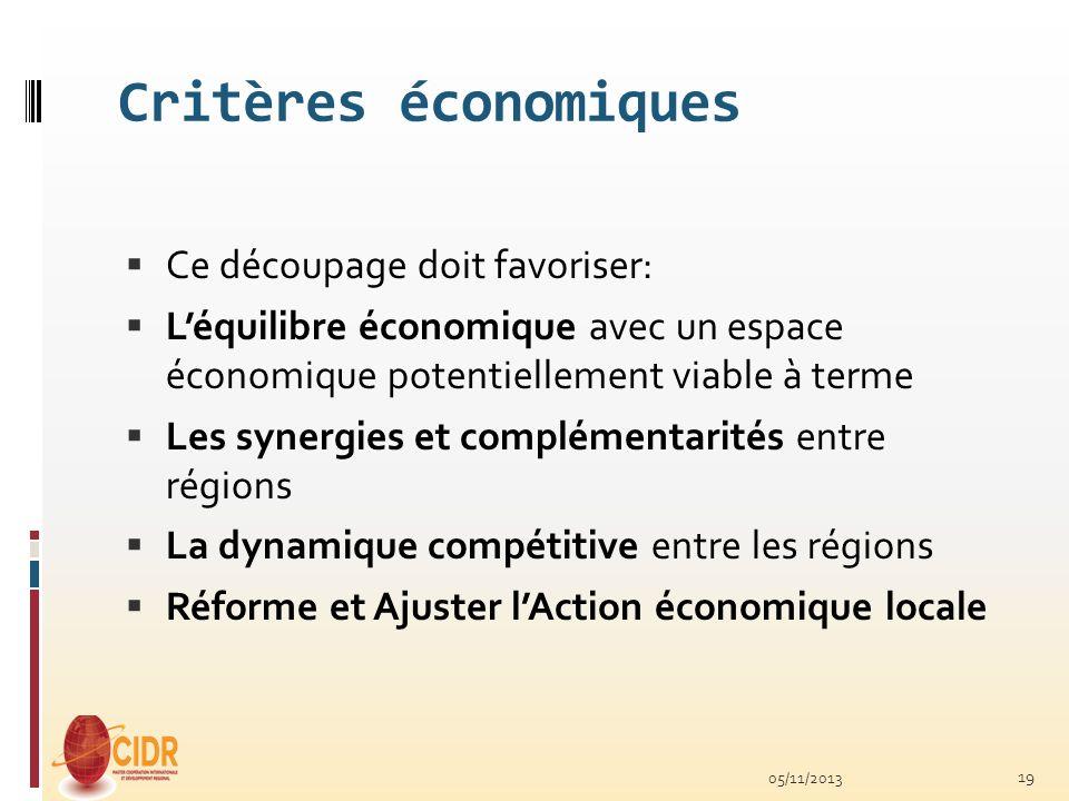 Critères économiques Ce découpage doit favoriser: Léquilibre économique avec un espace économique potentiellement viable à terme Les synergies et comp
