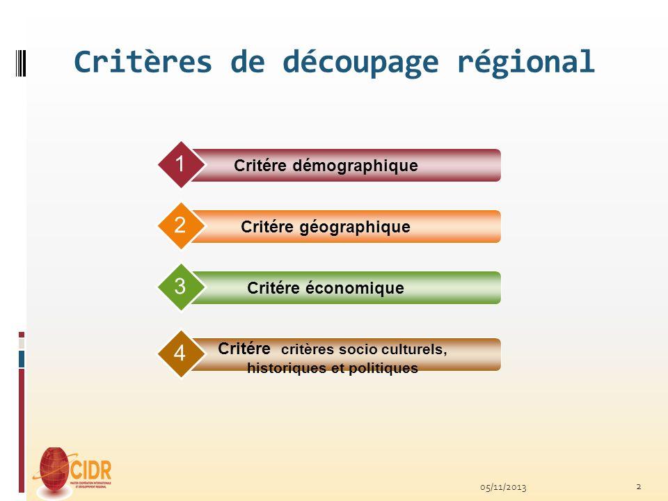 Critères de découpage régional Critére démographique 1 Critére géographique 2 Critére économique 3 Critére critères socio culturels, historiques et po