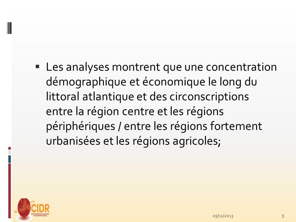 Les analyses montrent que une concentration démographique et économique le long du littoral atlantique et des circonscriptions entre la région centre