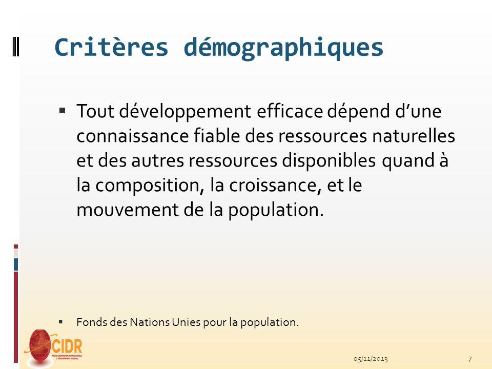 Critères démographiques Tout développement efficace dépend dune connaissance fiable des ressources naturelles et des autres ressources disponibles qua