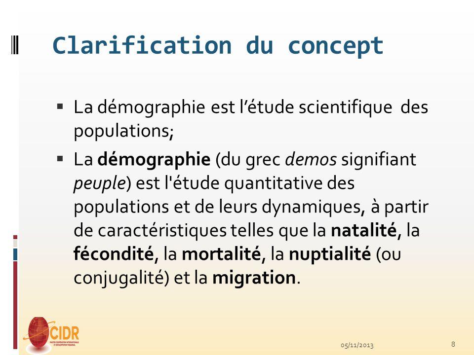 Clarification du concept La démographie est létude scientifique des populations; La démographie (du grec demos signifiant peuple) est l'étude quantita