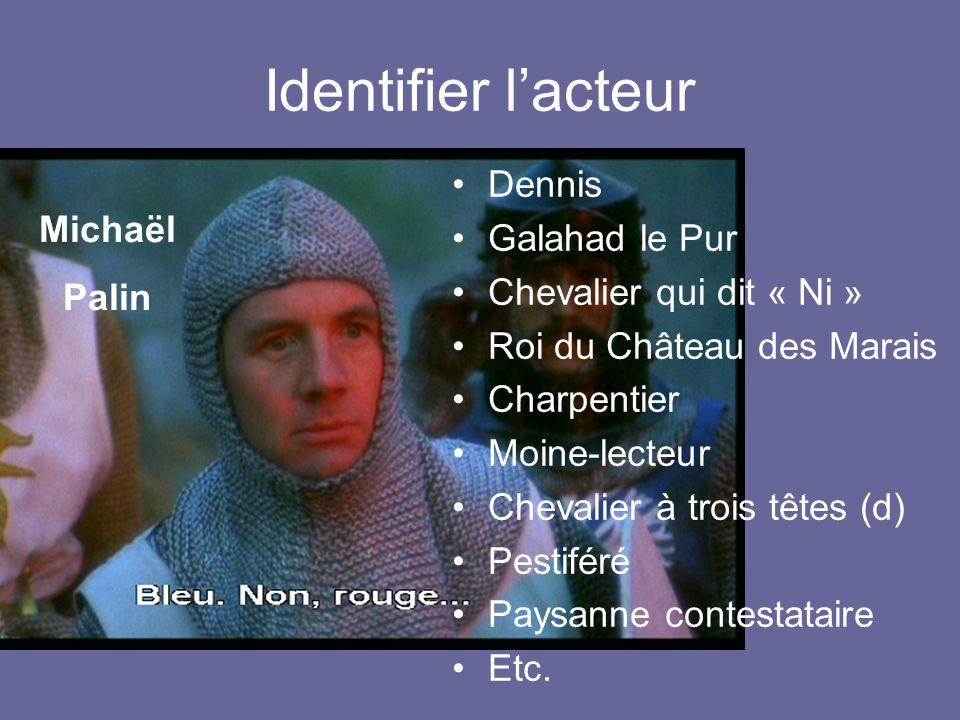 Identifier lacteur Michaël Palin Dennis Galahad le Pur Chevalier qui dit « Ni » Roi du Château des Marais Charpentier Moine-lecteur Chevalier à trois têtes (d) Pestiféré Paysanne contestataire Etc.