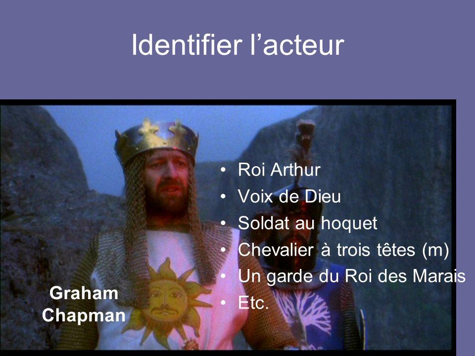Identifier lacteur Roi Arthur Voix de Dieu Soldat au hoquet Chevalier à trois têtes (m) Un garde du Roi des Marais Etc.