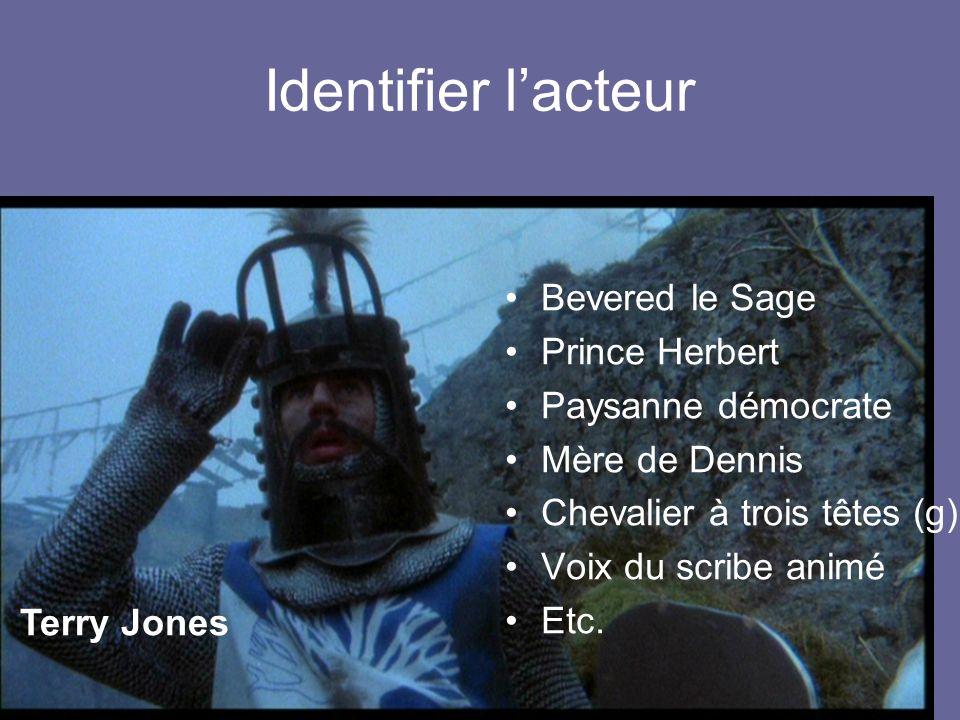 Identifier lacteur Roi Arthur Voix de Dieu Soldat au hoquet Chevalier à trois têtes (m) Un garde du Roi des Marais Etc. Graham Chapman