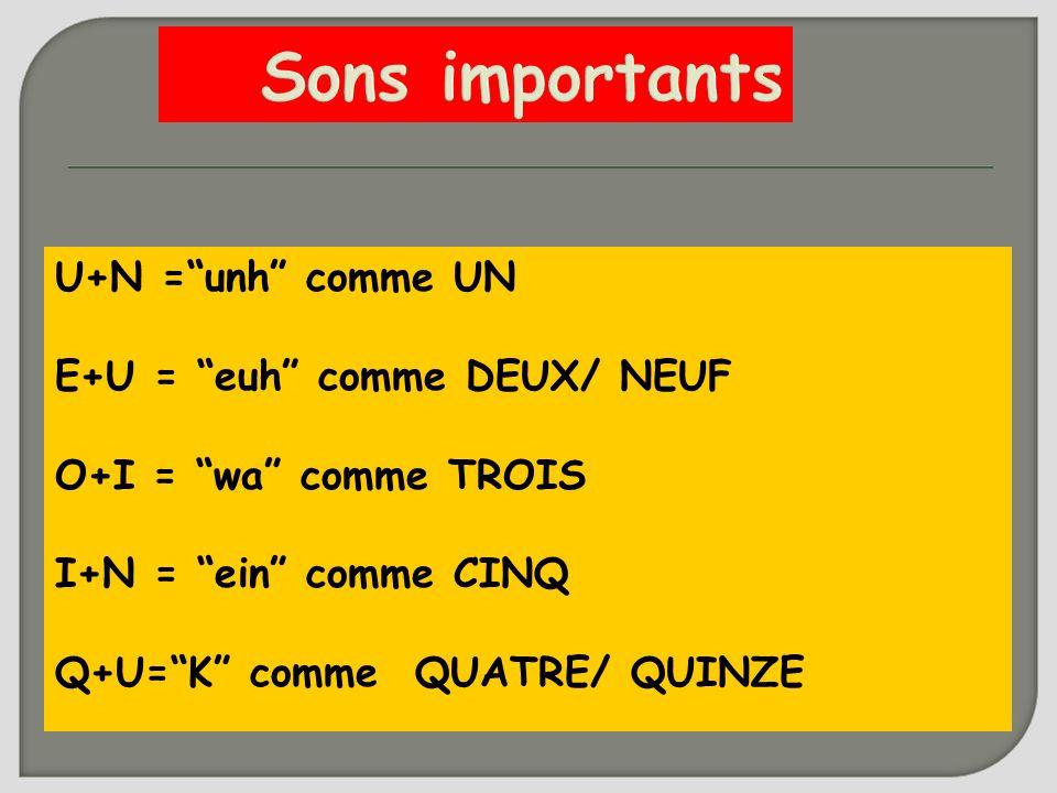 Sons importants U+N =unh comme UN E+U = euh comme DEUX/ NEUF O+I = wa comme TROIS I+N = ein comme CINQ Q+U=K comme QUATRE/ QUINZE