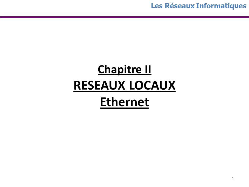 1 Chapitre II RESEAUX LOCAUX Ethernet Les Réseaux Informatiques