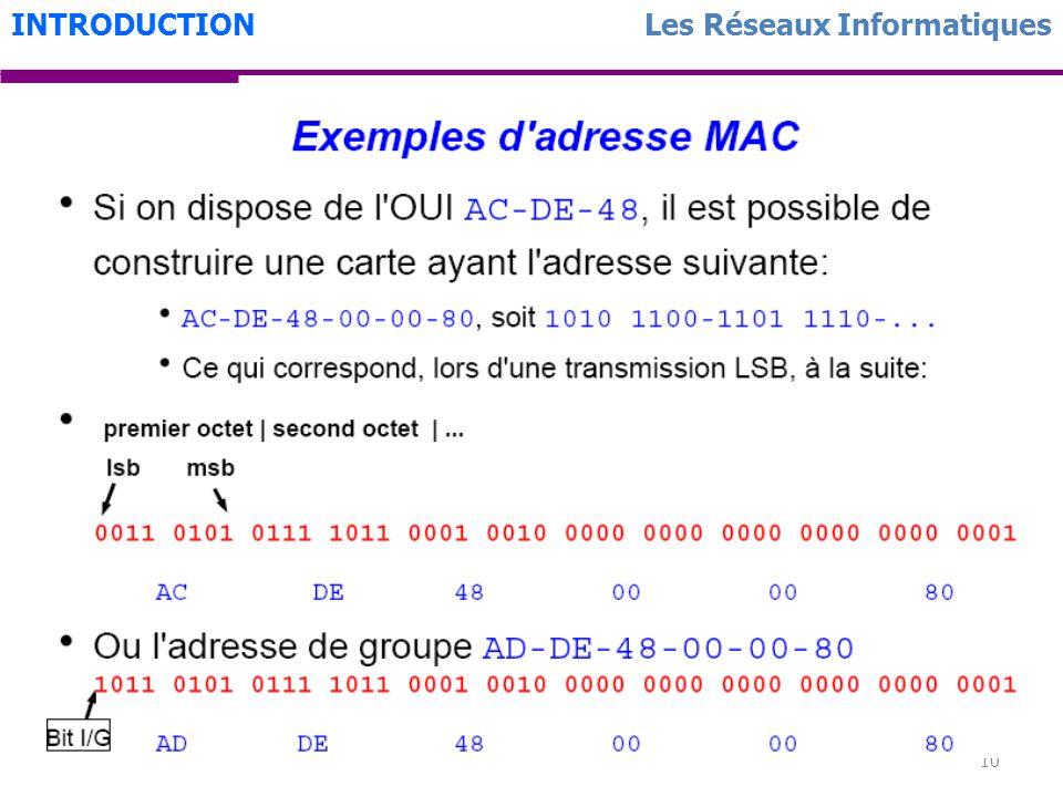 10 Les Réseaux InformatiquesINTRODUCTION