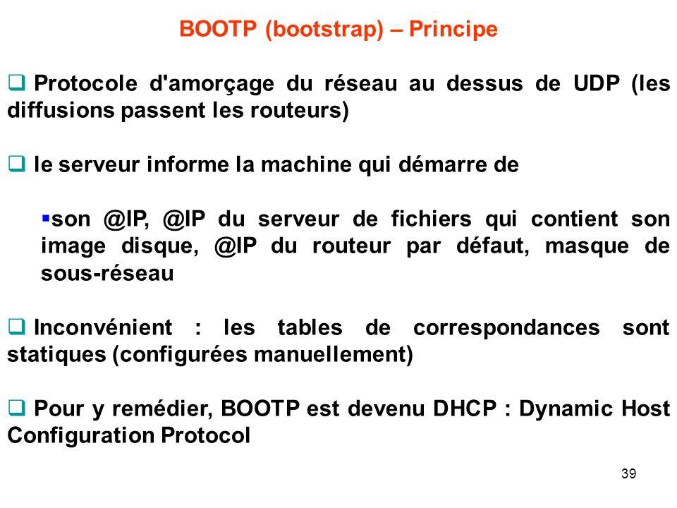 BOOTP (bootstrap) – Principe Protocole d'amorçage du réseau au dessus de UDP (les diffusions passent les routeurs) le serveur informe la machine qui d