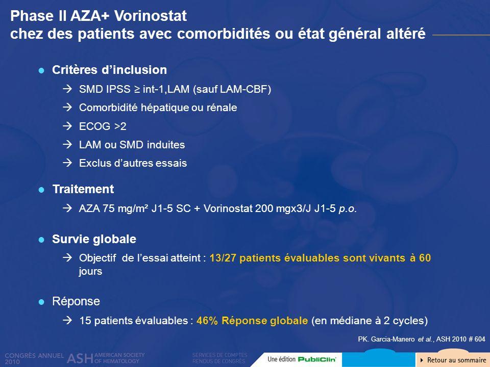 Phase II AZA+ Vorinostat chez des patients avec comorbidités ou état général altéré PK. Garcia-Manero et al., ASH 2010 # 604 Critères dinclusion SMD I