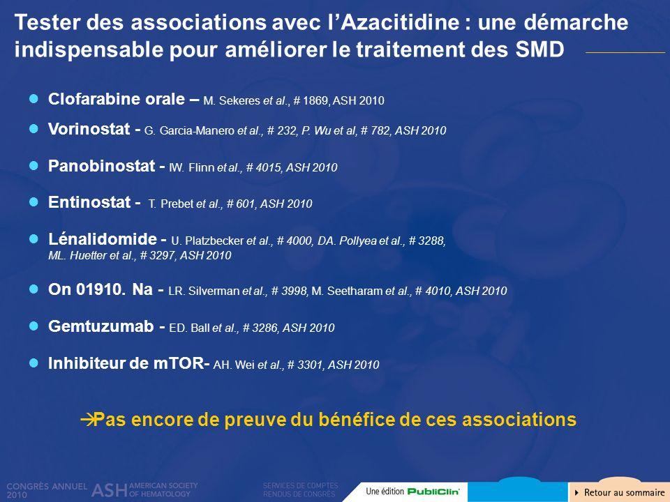 Clofarabine orale – M. Sekeres et al., # 1869, ASH 2010 Vorinostat - G. Garcia-Manero et al., # 232, P. Wu et al, # 782, ASH 2010 Panobinostat - IW. F