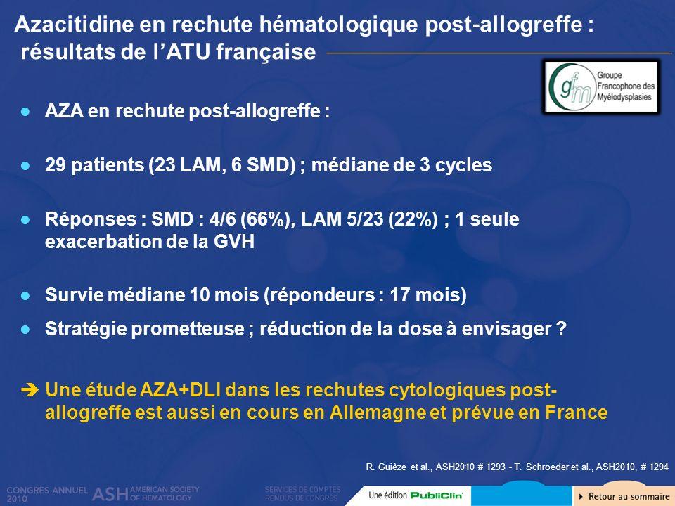 Azacitidine en rechute hématologique post-allogreffe : résultats de lATU française R. Guièze et al., ASH2010 # 1293 - T. Schroeder et al., ASH2010, #