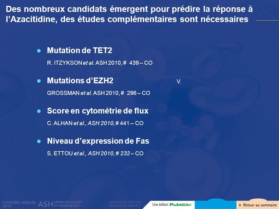 Mutation de TET2 R. ITZYKSON et al. ASH 2010, # 439 – CO Mutations dEZH2 V. GROSSMAN et al. ASH 2010, # 296 – CO Score en cytométrie de flux C. ALHAN