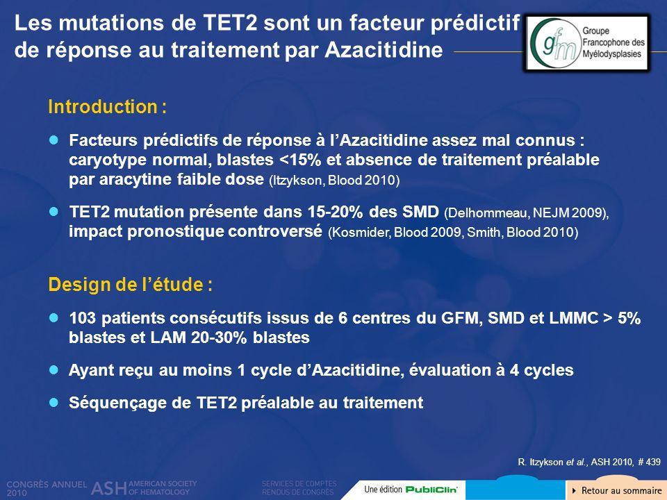 Les mutations de TET2 sont un facteur prédictif de réponse au traitement par Azacitidine Introduction : Facteurs prédictifs de réponse à lAzacitidine