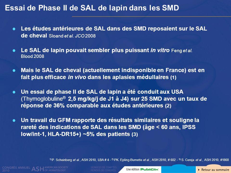 Essai de Phase II de SAL de lapin dans les SMD 1) P. Scheinberg et al., ASH 2010, LBA # 4 - 2) PK. Epling-Burnette et al., ASH 2010, # 602 - 3) S. Cer