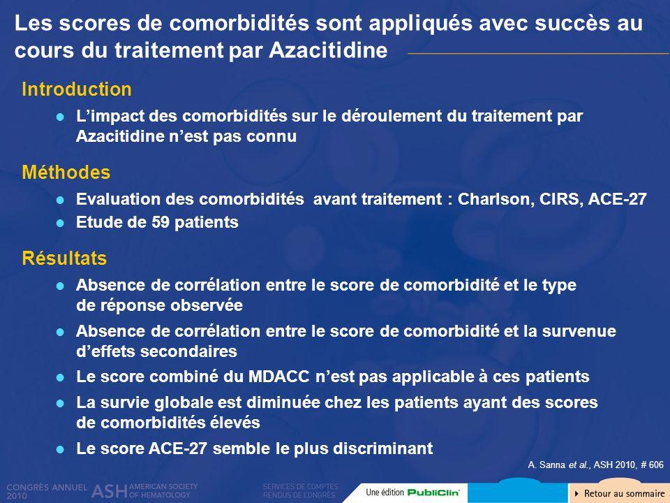 Introduction Limpact des comorbidités sur le déroulement du traitement par Azacitidine nest pas connu Méthodes Evaluation des comorbidités avant trait