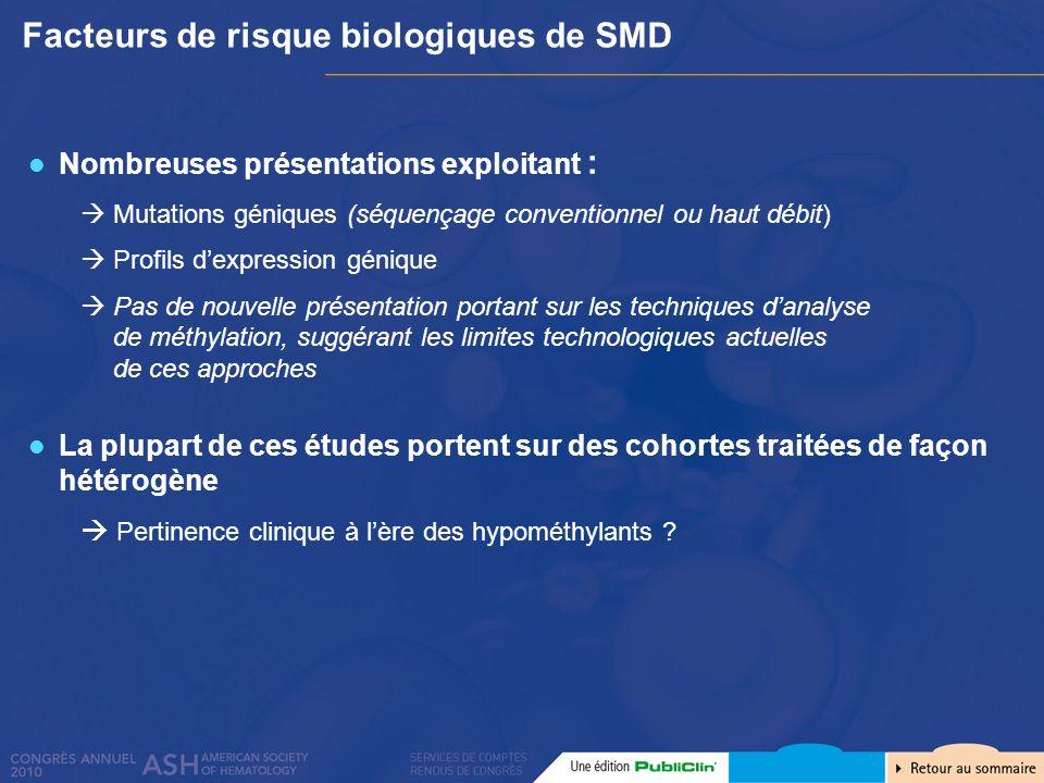 Facteurs de risque biologiques de SMD Nombreuses présentations exploitant : Mutations géniques (séquençage conventionnel ou haut débit) Profils dexpre