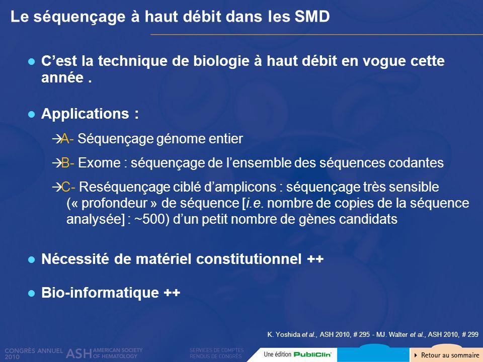 Le séquençage à haut débit dans les SMD Cest la technique de biologie à haut débit en vogue cette année. Applications : A- Séquençage génome entier B-