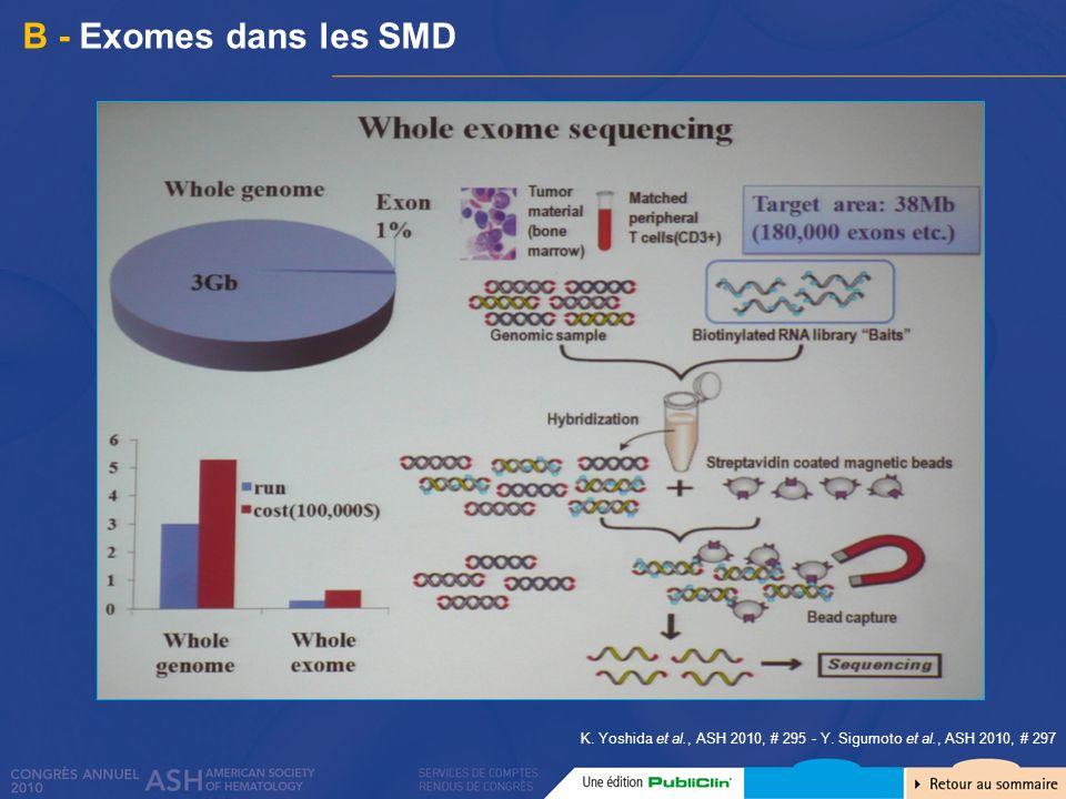 B - Exomes dans les SMD K. Yoshida et al., ASH 2010, # 295 - Y. Sigumoto et al., ASH 2010, # 297