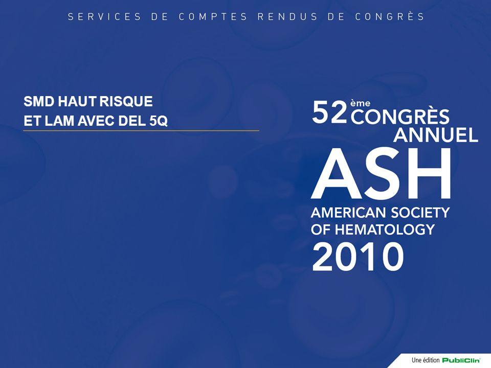 Phase II combinant Chimiothérapie intensive et Lénalidomide dans des SMD de haut risque et des LAM avec del 5q Patients (n=63, âge médian 66 ans) AREB2 IPSS int-2/élevé (n=15) ou LAM (n=48) Avec del 5q31 (complexe dans 81% des cas) Leucocytose : médiane : 2,65 G/L Traitement InductionConsolidations (x6)Entretien 1 ère cohorte - DNR 45 mg/m² x3 - ARAC 200 mg/m²x7 - Lénalidomide 10 mg x 21 - DNR 45 mg/m² x1 - ARAC 60 mg/m²x 10 - Lénalidomide 10 mg x 14 Lénalidomide 10 mg x 14/mois 2 ème cohorte - DNR 60 mg/m² x3 - ARAC 200 mg/m²x7 - Lénalidomide 10 mg x 21 - DNR 60 mg/m² x1 - ARAC 60 mg/m²x 10 - Lénalidomide 10 mg x 14 Lénalidomide 10 mg x 14/mois L.