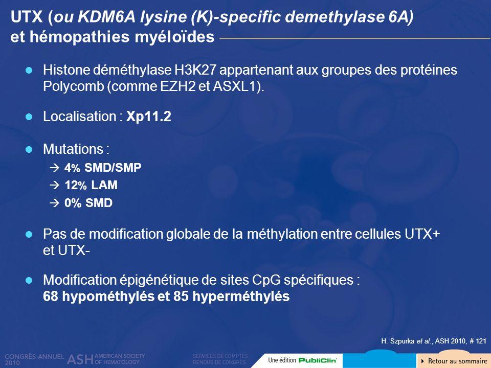 H. Szpurka et al., ASH 2010, # 121 UTX (ou KDM6A lysine (K)-specific demethylase 6A) et hémopathies myéloïdes Histone déméthylase H3K27 appartenant au