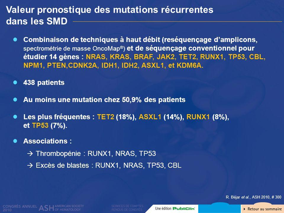 Valeur pronostique des mutations récurrentes dans les SMD R. Béjar et al., ASH 2010, # 300 Combinaison de techniques à haut débit (reséquençage dampli