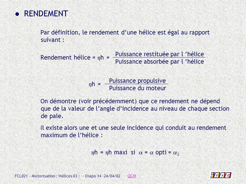 FCL021 - Motorisation : Hélices 03 : - Diapo 14 -24/04/02 RENDEMENT Par définition, le rendement dune hélice est égal au rapport suivant : Rendement h
