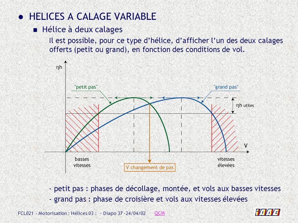 FCL021 - Motorisation : Hélices 03 : - Diapo 37 -24/04/02 HELICES A CALAGE VARIABLE Hélice à deux calages Il est possible, pour ce type dhélice, daffi