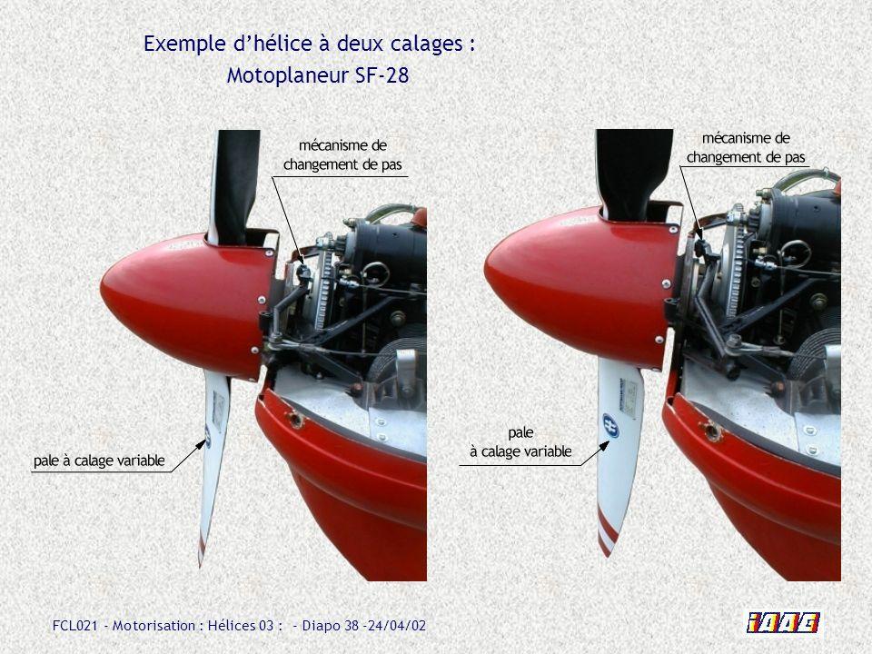 FCL021 - Motorisation : Hélices 03 : - Diapo 38 -24/04/02 Exemple dhélice à deux calages : Motoplaneur SF-28