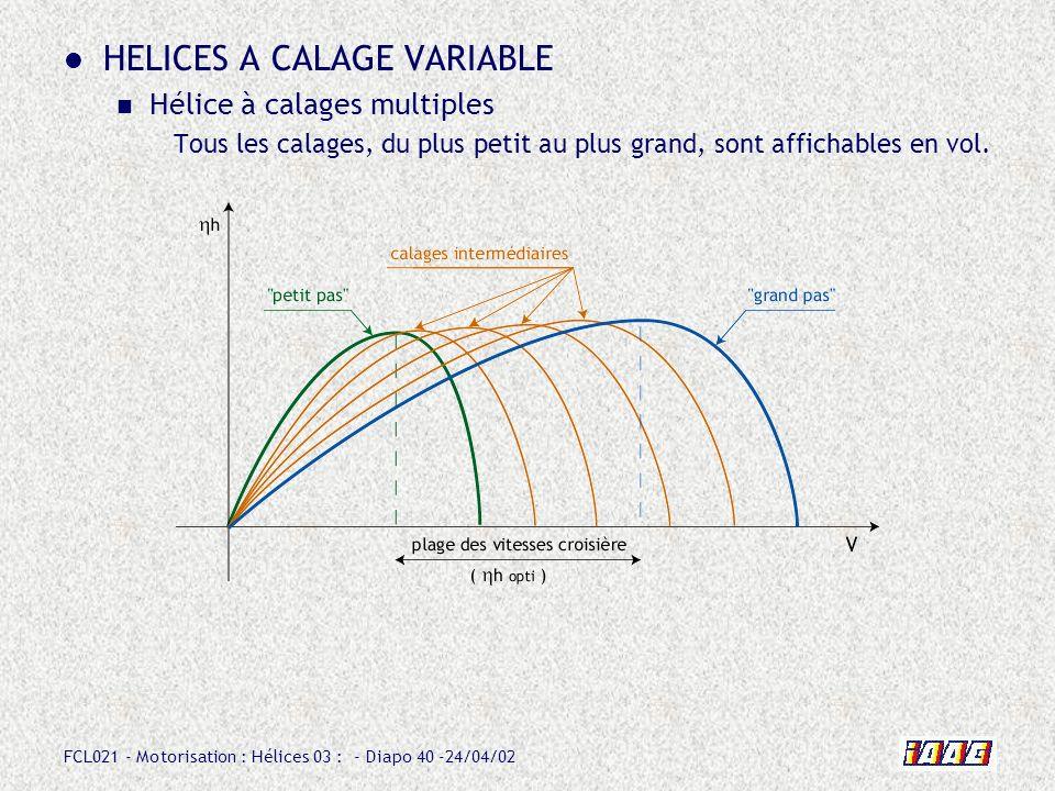 FCL021 - Motorisation : Hélices 03 : - Diapo 40 -24/04/02 HELICES A CALAGE VARIABLE Hélice à calages multiples Tous les calages, du plus petit au plus