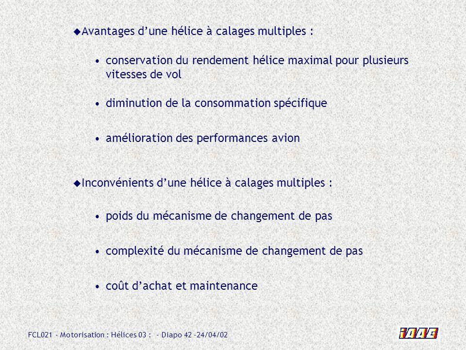 FCL021 - Motorisation : Hélices 03 : - Diapo 42 -24/04/02 Avantages dune hélice à calages multiples : conservation du rendement hélice maximal pour pl