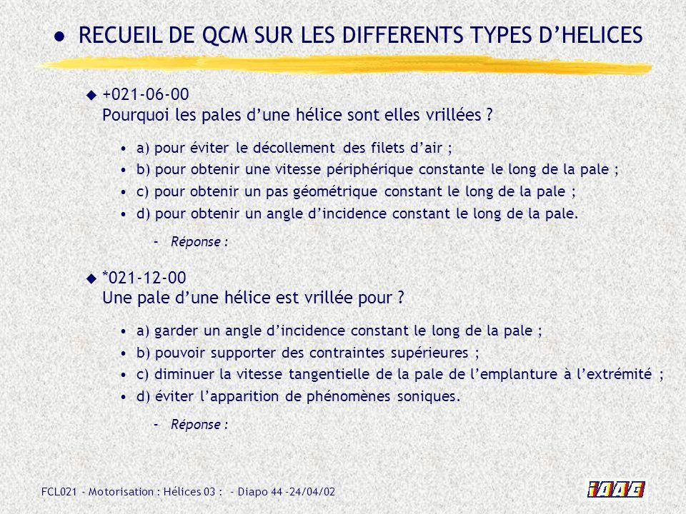 FCL021 - Motorisation : Hélices 03 : - Diapo 44 -24/04/02 +021-06-00 Pourquoi les pales dune hélice sont elles vrillées ? a) pour éviter le décollemen