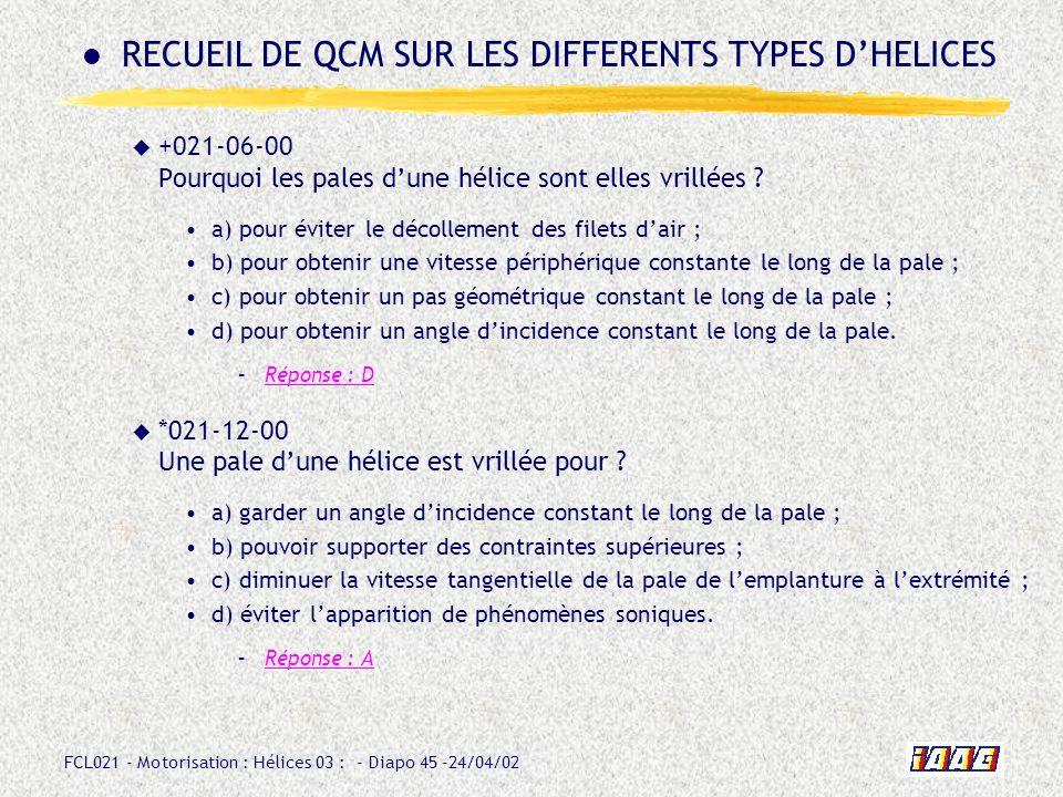 FCL021 - Motorisation : Hélices 03 : - Diapo 45 -24/04/02 +021-06-00 Pourquoi les pales dune hélice sont elles vrillées ? a) pour éviter le décollemen