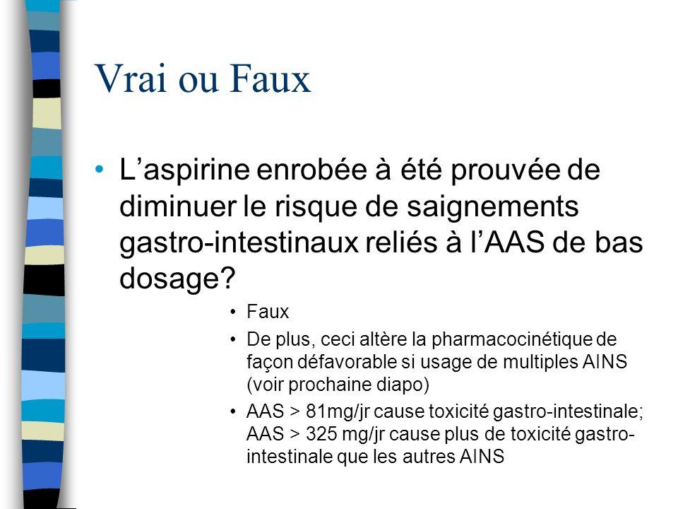 Vrai ou Faux Laspirine enrobée à été prouvée de diminuer le risque de saignements gastro-intestinaux reliés à lAAS de bas dosage? Faux De plus, ceci a