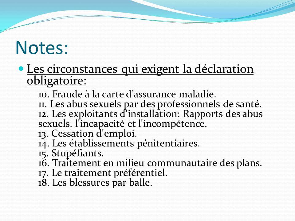 Notes: Les circonstances qui exigent la déclaration obligatoire: 10. Fraude à la carte dassurance maladie. 11. Les abus sexuels par des professionnels