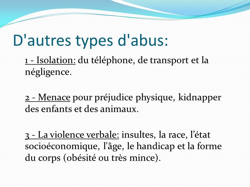 D'autres types d'abus: 1 - Isolation: du téléphone, de transport et la négligence. 2 - Menace pour préjudice physique, kidnapper des enfants et des an