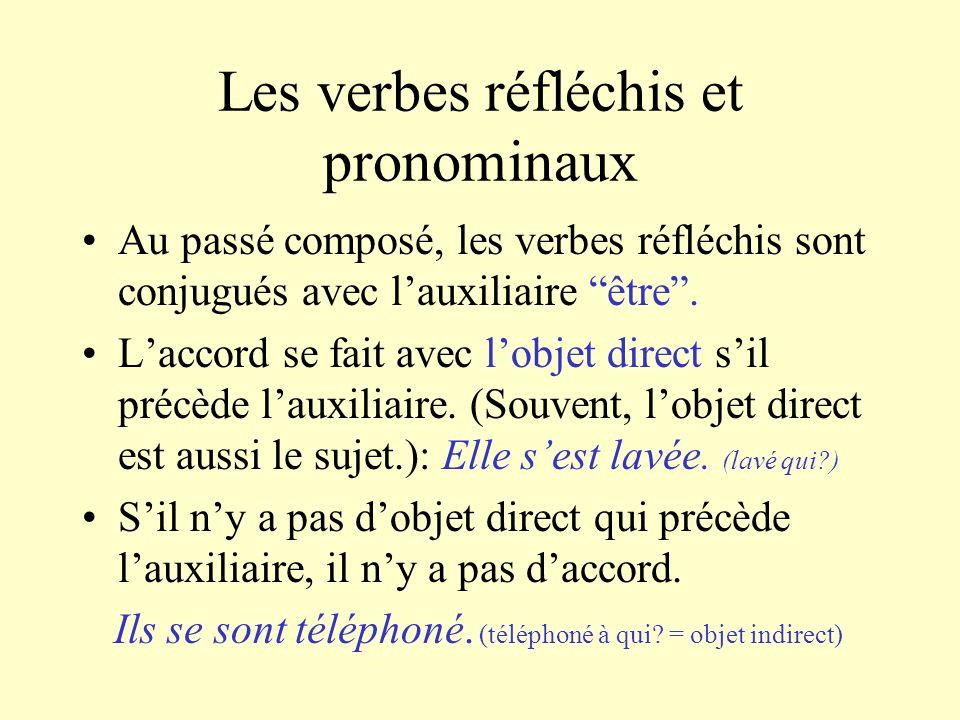 Les verbes réfléchis et pronominaux Au passé composé, les verbes réfléchis sont conjugués avec lauxiliaire être. Laccord se fait avec lobjet direct si