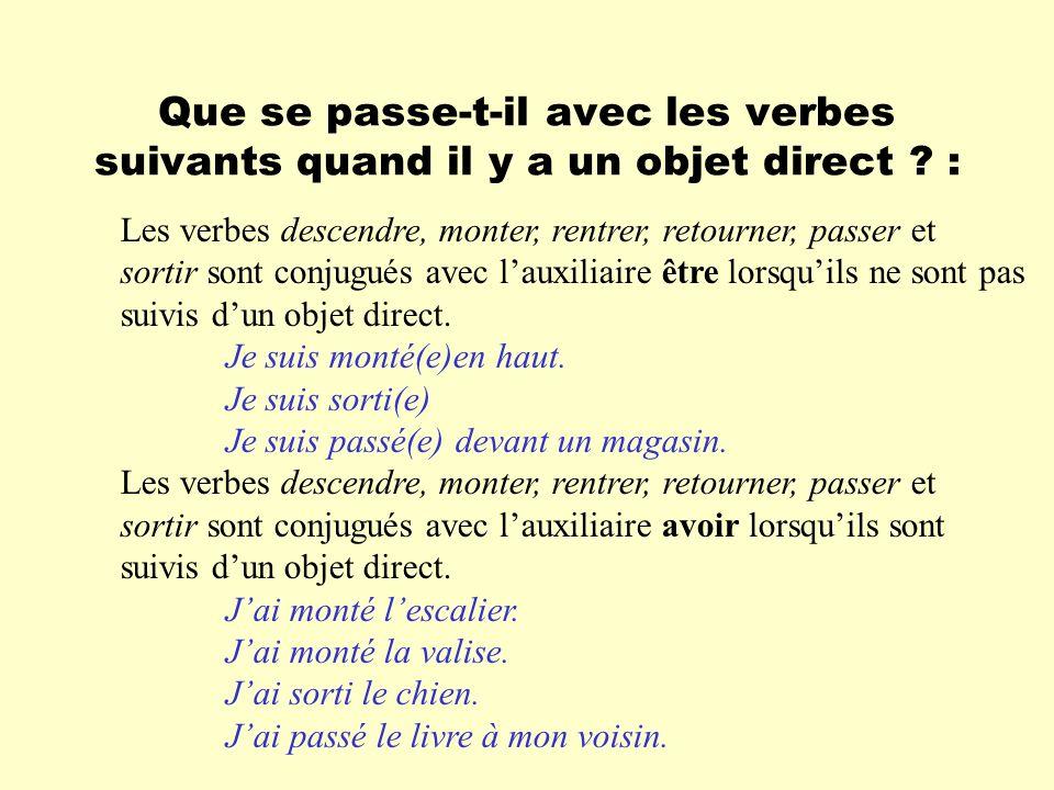 Que se passe-t-il avec les verbes suivants quand il y a un objet direct ? : Les verbes descendre, monter, rentrer, retourner, passer et sortir sont co