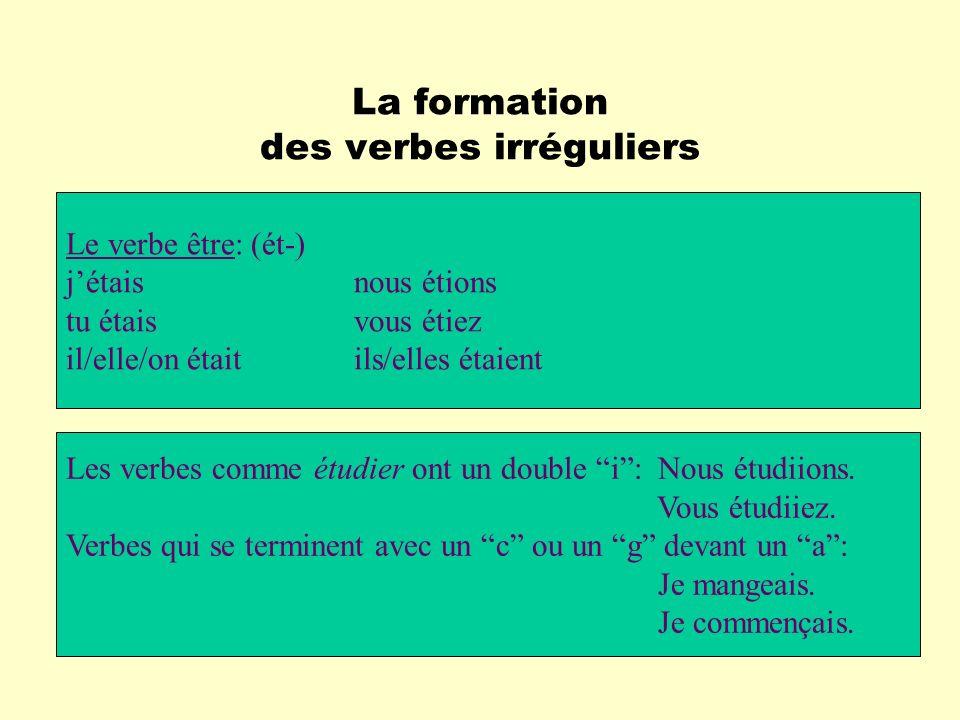 La formation des verbes irréguliers Le verbe être: (ét-) jétaisnous étions tu étaisvous étiez il/elle/on étaitils/elles étaient Les verbes comme étudi